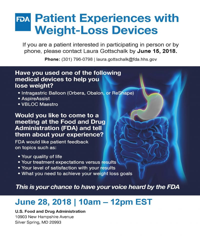 FDA Seeks Feedback from Patients about Their Experiences with Weight Loss Devices